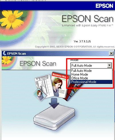 Pilih mode scan