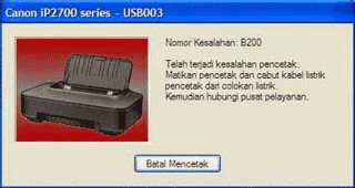 Error B200 Pada Printer Canon iP2770