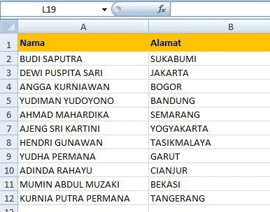 Membuat nama dan alamat
