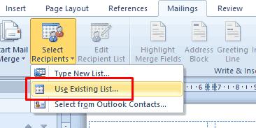 Use Existing List