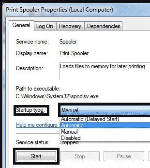 Print spooler properties