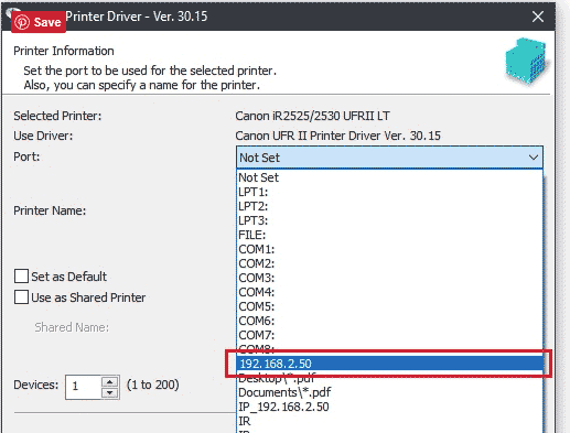 set ip install driver