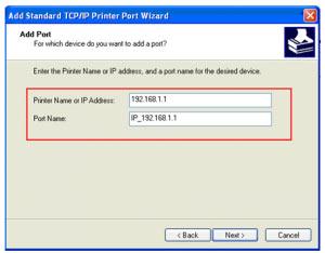 Add standart TCP IP Printer