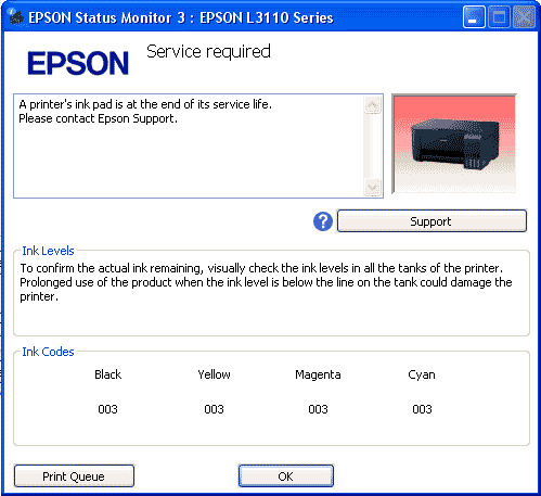 Mengatasi Masalah Service Required di Printer Epson L3110