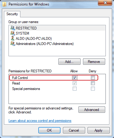 Setting permissions for Windows