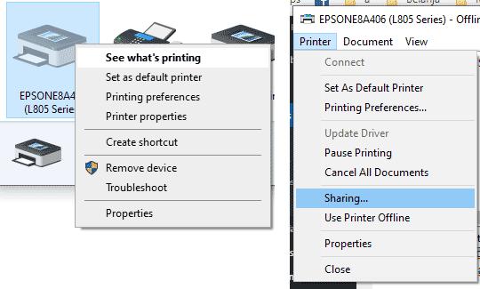 Sharing printer di Windows 10