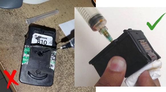 Posisi cartridge pengisian ulang tinta
